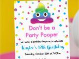 Poop Emoji Birthday Invitations Party Pooper Invitation with Rainbow Poop Emoji