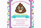 Poop Emoji Birthday Invitations Poop Emoji Girl Birthday Invitation Zazzle Com