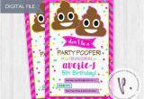 Poop Emoji Birthday Invitations Poop Emoji Invitations Rainbow Emoticon by Peadots