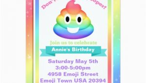 Poop Emoji Birthday Invitations Rainbow Poop Emoji Birthday Invitation Zazzle Com