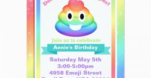 Poop Emoji Birthday Invitations Rainbow Poop Emoji Birthday Invitation Zazzle Com