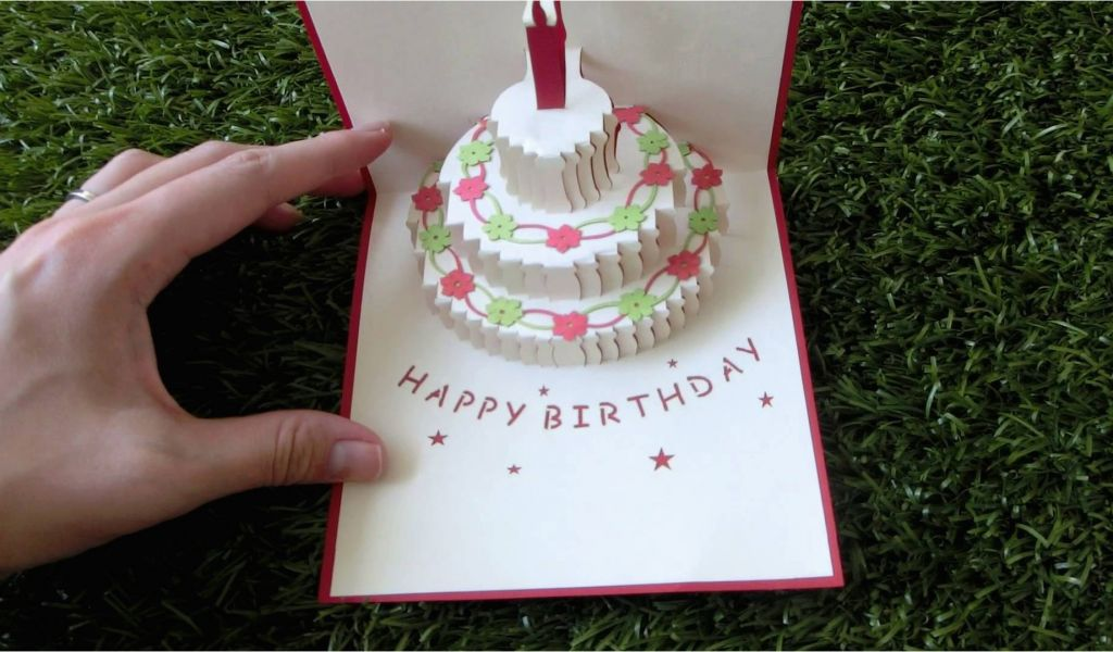 Pop Up Birthday Card Template Cake Pattern Www