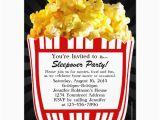 Popcorn Birthday Invitations Movie Popcorn Sleepover Custom Party Invitations Zazzle Com
