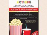 Popcorn Birthday Invitations Movies Popcorn Birthday Party Invitation Digital File or