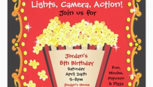 Popcorn Birthday Invitations Popcorn and A Movie Birthday Party Invitation Zazzle Com