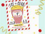 Popcorn Birthday Invitations Popcorn and Movie Birthday Invitation Printed Invitations