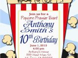 Popcorn Birthday Invitations Popcorn Birthday Movie Night Printable Party Invitation Print
