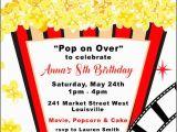 Popcorn Birthday Party Invitations Movie Birthday Party Invitation Popcorn Invitation Boy