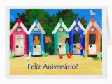 Portuguese Birthday Cards Birthday Beach Huts Card Portuguese Greeting Zazzle