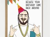 Postal Birthday Gifts for Him Funny Post Malone Inspired Birthday Card Birthday Gift