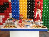Power Ranger Birthday Decorations Candy Table at A Power Rangers themed Kids Birthday Party