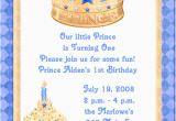 Prince 1st Birthday Invitations Blue Prince 1st Birthday Party Invitations