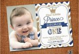 Prince 1st Birthday Invitations Little Prince Birthday Invitation with Picture by