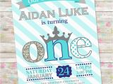 Prince 1st Birthday Invitations Prince Birthday Invitation 1st Birthday Party Invite Blue