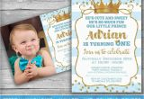 Prince 1st Birthday Invitations Prince Invitation Little Prince First Birthday Boy