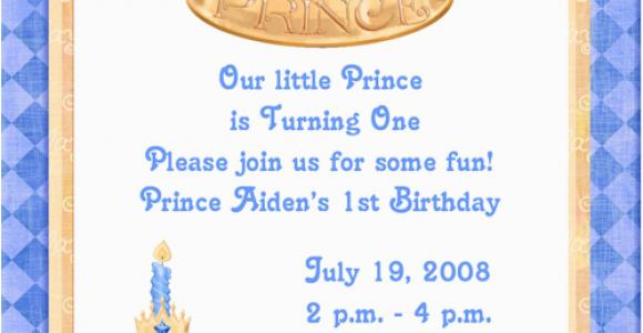 Prince First Birthday Invitations Blue Prince 1st Birthday Party Invitations