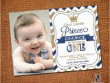Prince First Birthday Invitations Little Prince Birthday Invitation with Picture by