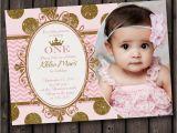 Princess 1st Birthday Invitation Wording First Birthday Pink and Gold Invitation Princess Invitation