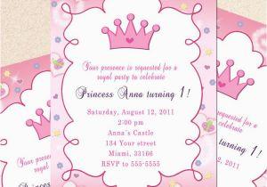 Princess 1st Birthday Invitation Wording Card Butterfly Custom Girl