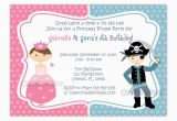 Princess and Pirate Birthday Party Invitations Free Printable Princess and Pirate Birthday Party