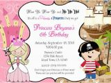 Princess and Pirate Birthday Party Invitations Pirate and Princess Birthday Party by Printabledigidesigns