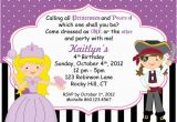 Princess and Pirate Birthday Party Invitations Pirate and Princess Party Invitations Template Best