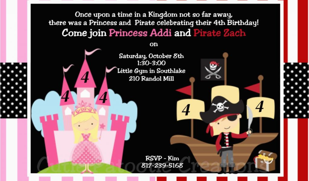 Princess And Pirate Birthday Party Invitations Pirate And Princess