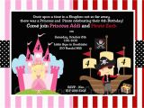 Princess and Pirate Birthday Party Invitations Pirate and Princess Party Invitations Template Home