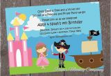 Princess and Pirate Birthday Party Invitations Princess and Pirate Birthday Invitation