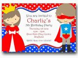 Princess Superhero Birthday Party Invitations Personalised Birthday Party Invitations Princess and