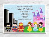 Princess Superhero Birthday Party Invitations Personalised Princess and Superhero Birthday Party Invites