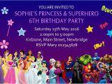 Princess Superhero Birthday Party Invitations Personalised Princess Superhero Invitations