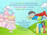 Princess Superhero Birthday Party Invitations Princess and Superhero Birthday Invitation Castle Invite