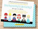 Princess Superhero Birthday Party Invitations Princess and Superhero Birthday Invitation Combo Birthday
