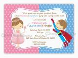 Princess Superhero Birthday Party Invitations Princess and Superhero Birthday Invitation Digital File
