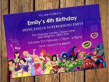 Princess Superhero Birthday Party Invitations Princess Superhero Party Invitations by Qualityinvitations