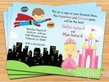 Princess Superhero Birthday Party Invitations Superhero and Princess Birthday Party Invitation Printable