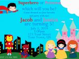 Princess Superhero Birthday Party Invitations Superhero and Princess Invitation Superhero by