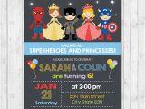 Princess Superhero Birthday Party Invitations Superhero and Princess Invitation Superheroes and Princesses