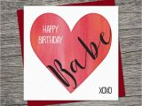 Print A Birthday Card for Wife Birthday Card Happy Birthday Babe Wife Birthday Husband