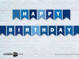 Print A Happy Birthday Banner Free Blue Happy Birthday Printable Banner Blue tones Bunting