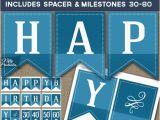 Print at Home Happy Birthday Banner Happy Birthday Banner Printable Blue Birthday Banner