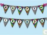 Print Your Own Happy Birthday Banner Neon 80 39 S Party Happy Birthday Banner 30th by
