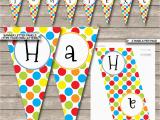 Print Your Own Happy Birthday Banner Polkadot Birthday Party Banner Template Happy Birthday