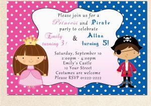 Print Yourself Birthday Invitations Printable Pirate Fairy Princess Birthday Party Invitations
