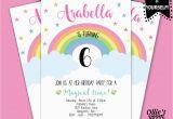 Print Yourself Birthday Invitations Rainbow Birthday Invitation Girls Birthday Printable