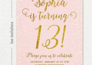 Printable 13th Birthday Invitations Invitation For Girl Pink Gold Teen