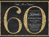 Printable 60th Birthday Invitations 60th Birthday Invitation Gold Glitter Birthday Party
