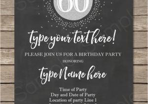 Printable 60th Birthday Invitations Chalkboard 60th Birthday Invitation Template Silver Glitter