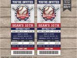 Printable Baseball Ticket Birthday Invitations Baseball Birthday Invitation Baseball Ticket Invitation